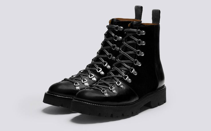 Mens Ski Boot in Black Colorado Leather and Black Suede with a Commando Sole | Brady | Grenson Shoes - Three Quarter View