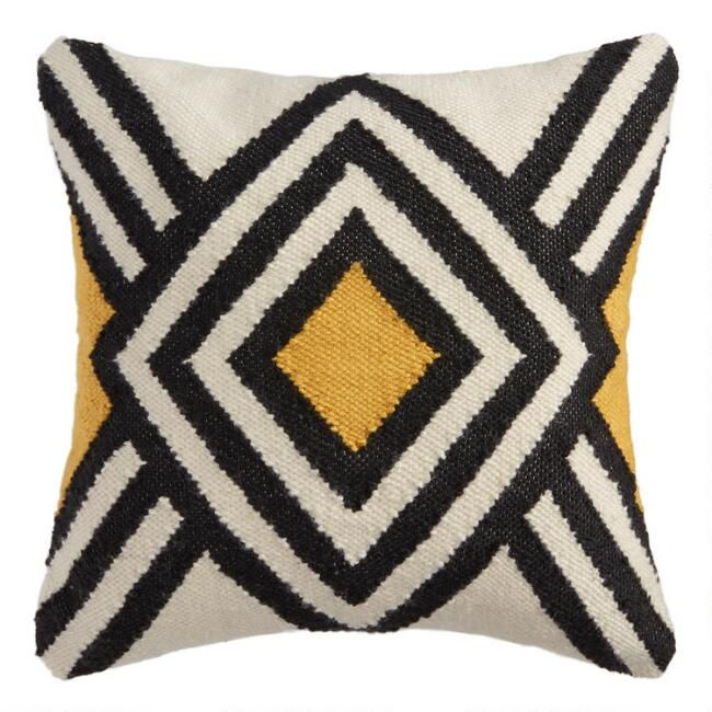 Mustard And Ivory Woven Diamond Indoor Outdoor Throw Pillow V1 In 2020 Outdoor Throw Pillows Throw Pillows Outdoor Pillows