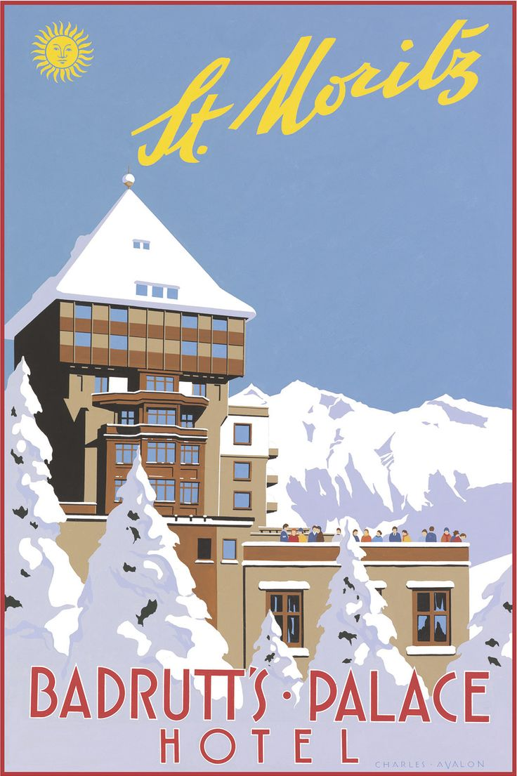 PEL101: 'St Moritz: Badrutt's Palace Hotel' - by Charles Avalon - Vintage travel posters - Winter Sports posters - Art Deco - Pullman Editions