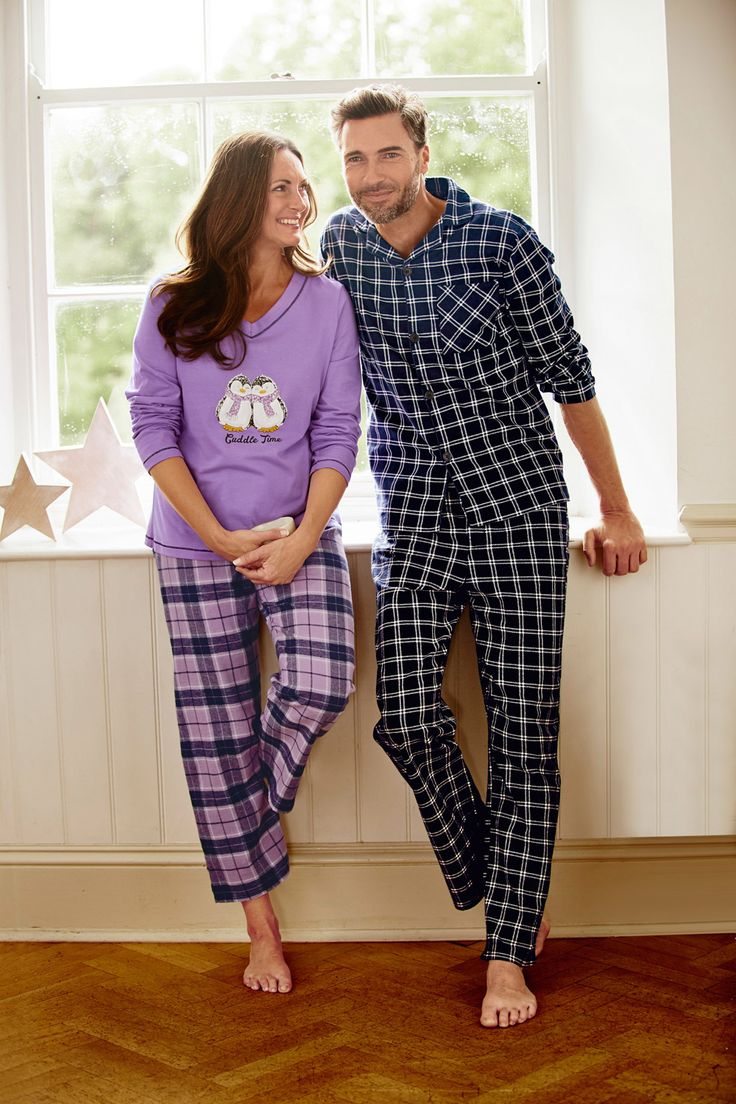 Our brushed check pyjama set is great for when the cooler nights set in.