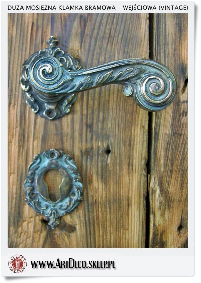 Duże mosiężne klamki wejściowe do drzwi zewnętrznych (Vintage)