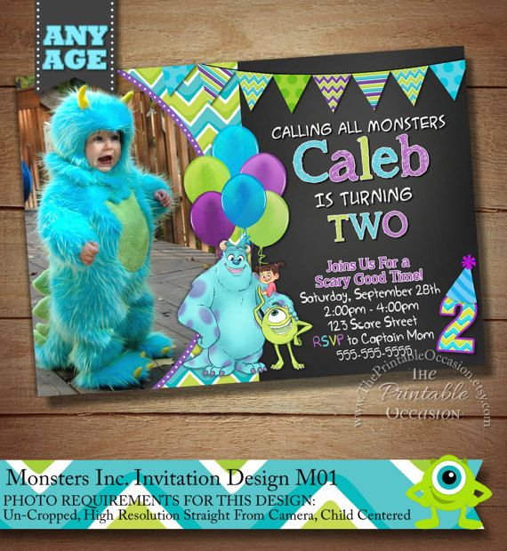 Monster Inc Invitation, Monster Inc Photo Invitation, Monster Birthday Party Invitation, Monster University Invitation, Monsters Inc Birthday Party Ideas, Monster's University Birthday Party, Printable Invitation