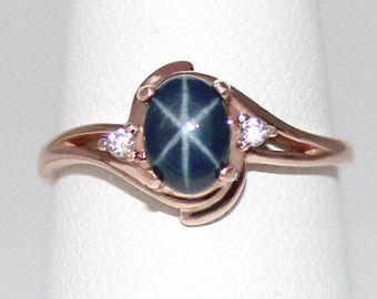 Genuino 27 ct zafiro de estrella azul anillo de por TSNjewelry