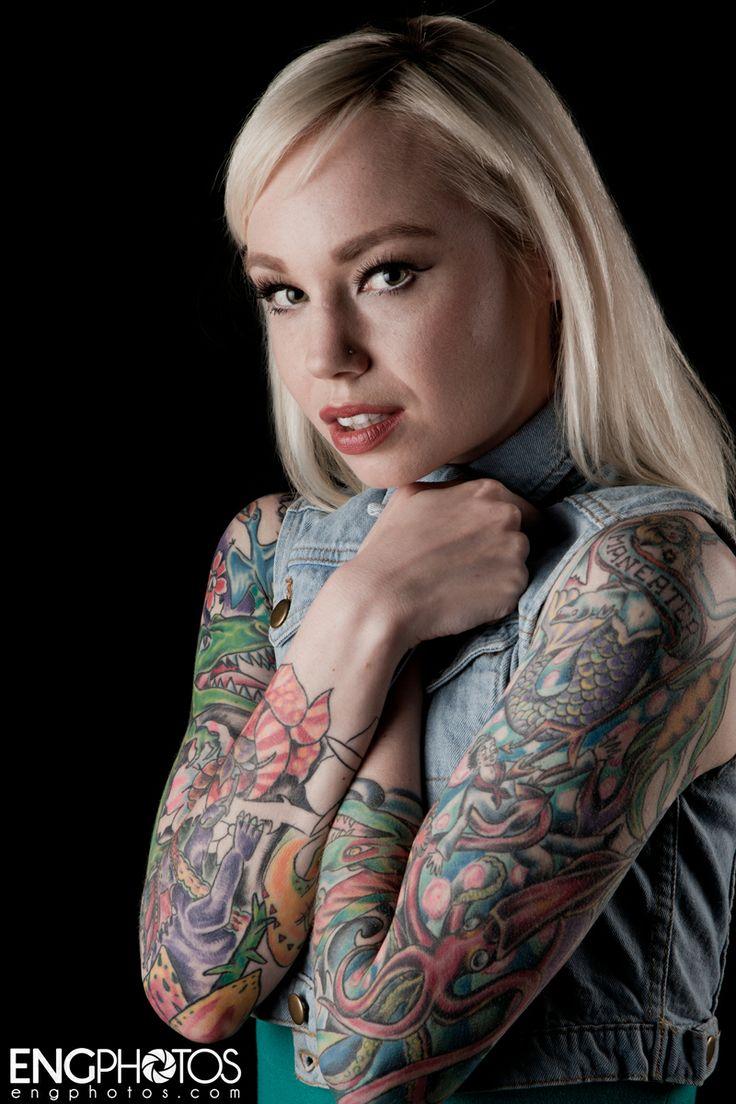 Tattooed blonde jean tattoo girl studio portrait for Studio 7 tattoo
