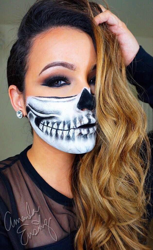 half skull realness halloween makeup tutorials pinterest maquillage de d guisement. Black Bedroom Furniture Sets. Home Design Ideas