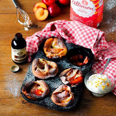 Caramelised Plum Yorkshire Puddings Recipe | BakingMad.com