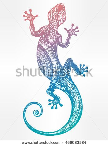 Ornate Gecko lizard in in tattoo style. Isolated vector illustration. Ideal for coloring page, shirt design effect, logo and decoration.