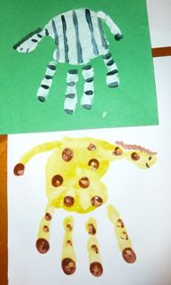 Animal cracker math, handprint zoo animal art & counting books