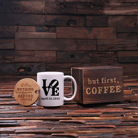 """The bamboo lid  can be engraved with your own personal saying and a date can be added to the mug. This adorable coffee set arrives in our whimsical wood gift box with the saying, """"But first, coffee""""."""