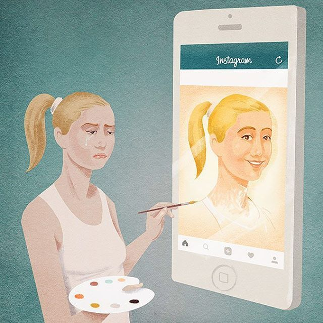 For CT Magazine, for an article talking about how teenager show to have a beuatiful life on social, when their real one is not so good. #magazine #illustration #instagram #life #real #sad #teen #paint #digital #picame @mig.rating @artistsdrop @art_psycho #mobile #graphic #portait #selfie #@picame #blonde #brush #color #drawing #paper