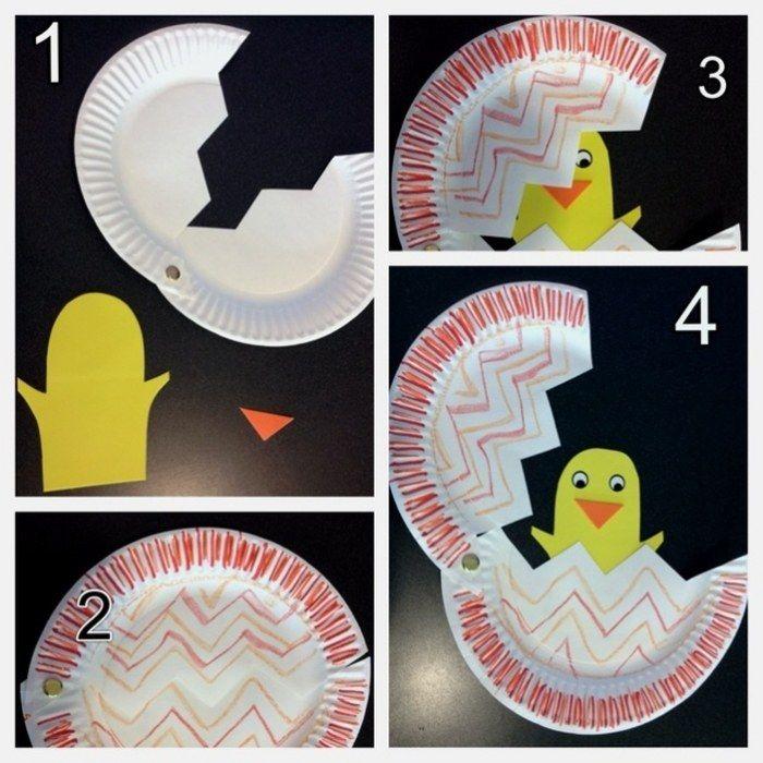 décoration de Pâques avec un poussin DIY très original en papier