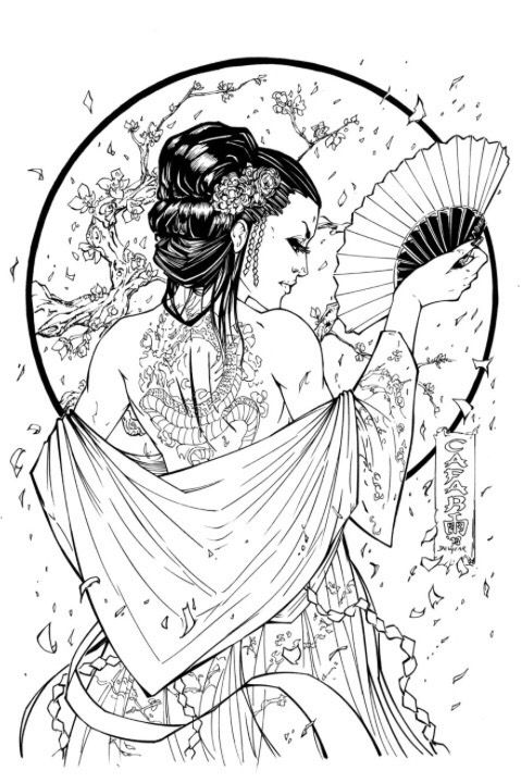 Lovely Geisha tattoo design.