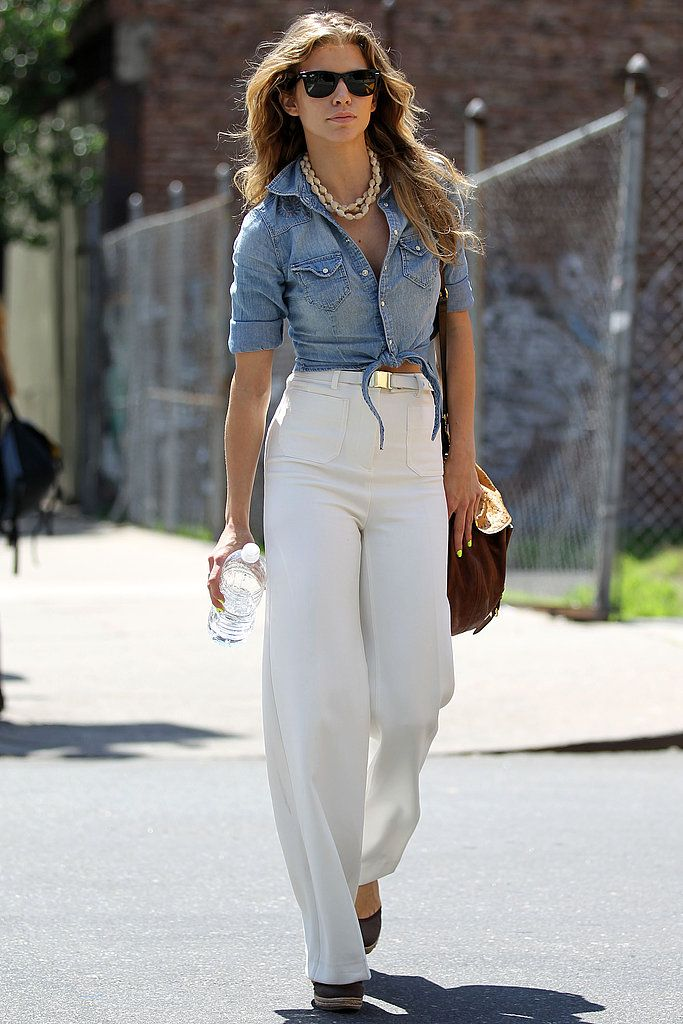 AnnaLynne McCord styled up '70s denim with an equally retro-cool knotted top.                  Source: Film Magic