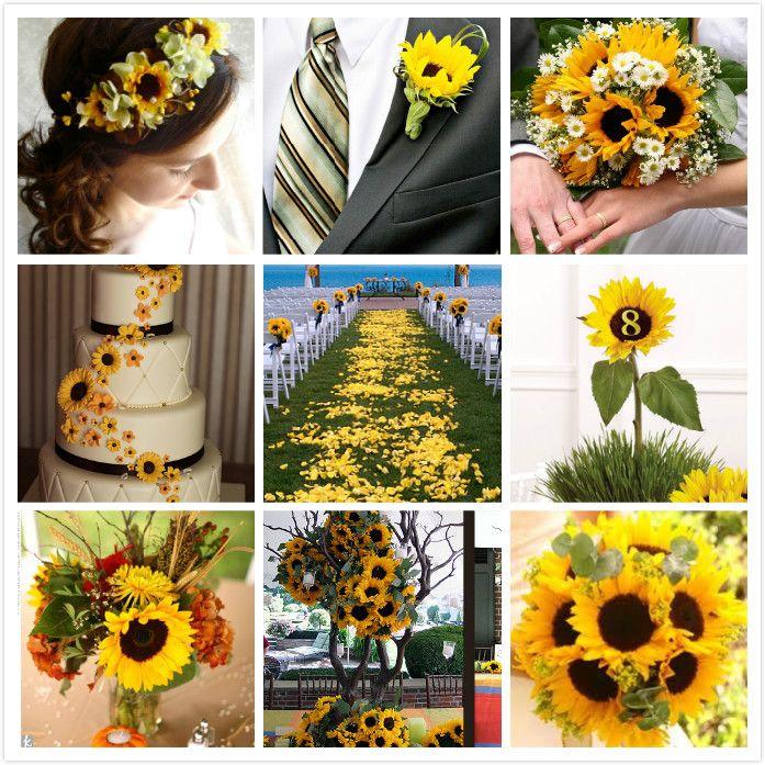 Outdoor November Wedding Flowers: Sunflower Wedding Decorations