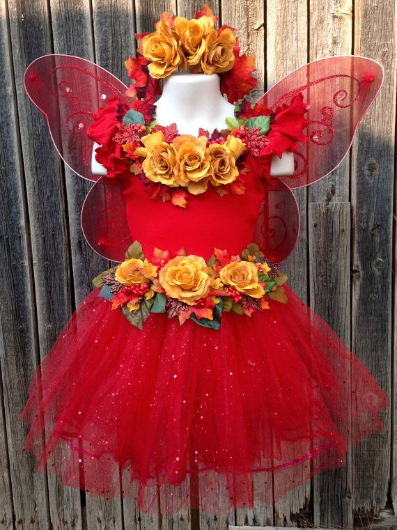 Girls fairy costume - The Autumn Rose Fairy - Halloween costume red and yellow fairy dress for kids children 4-6