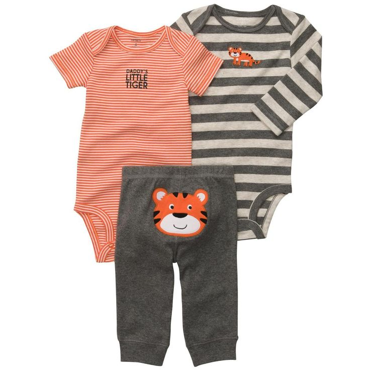 Carter's Boys 3 Piece Tiger Turn Me Around Set with Long Sleeve Bodysuit,  Short Sleeve Bodysuit, and Pant - Carters - Babies