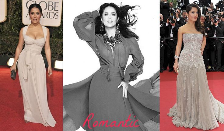 Salma Hayek - evening gowns for Romantic (Kibbe). Typ urody Romantic – seksbomba.
