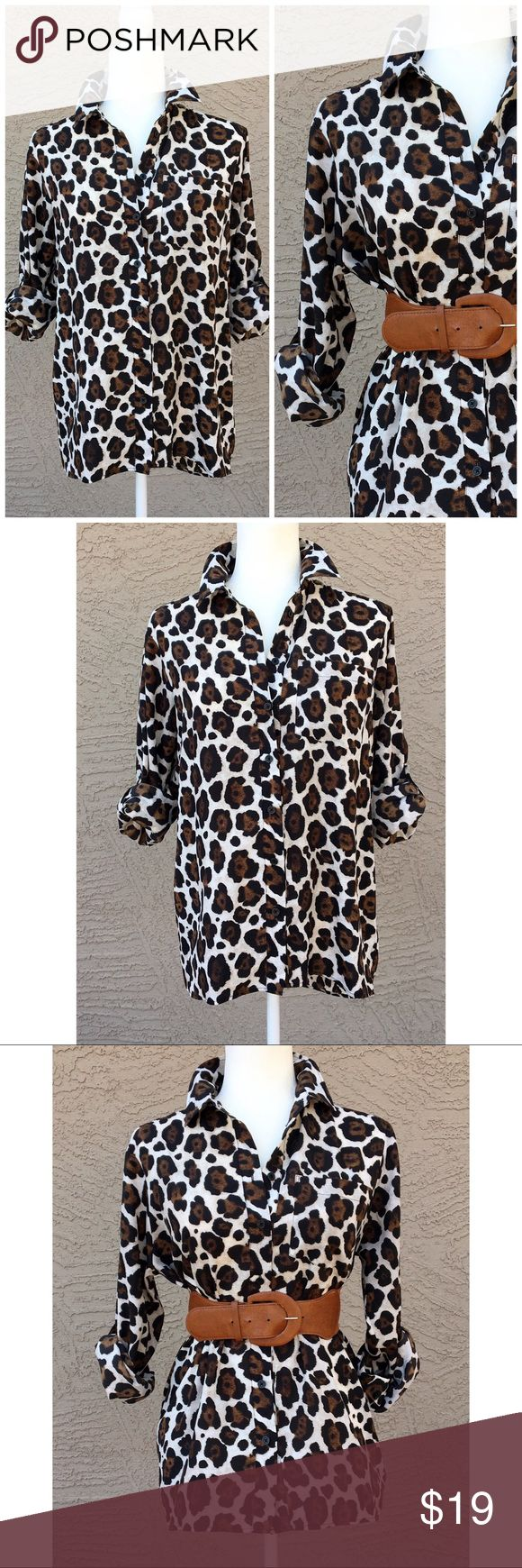 "MICHAEL Michael Kors Animal Print Blouse Brown, Black and white animal print buttons down Blouse. Pull tab/ roll-up sleeves. Front length: 25"", Back Length: 29"", Pit to Pit: 21.5"". ✨OFFERS WELCOME✨ MICHAEL Michael Kors Tops Blouses"