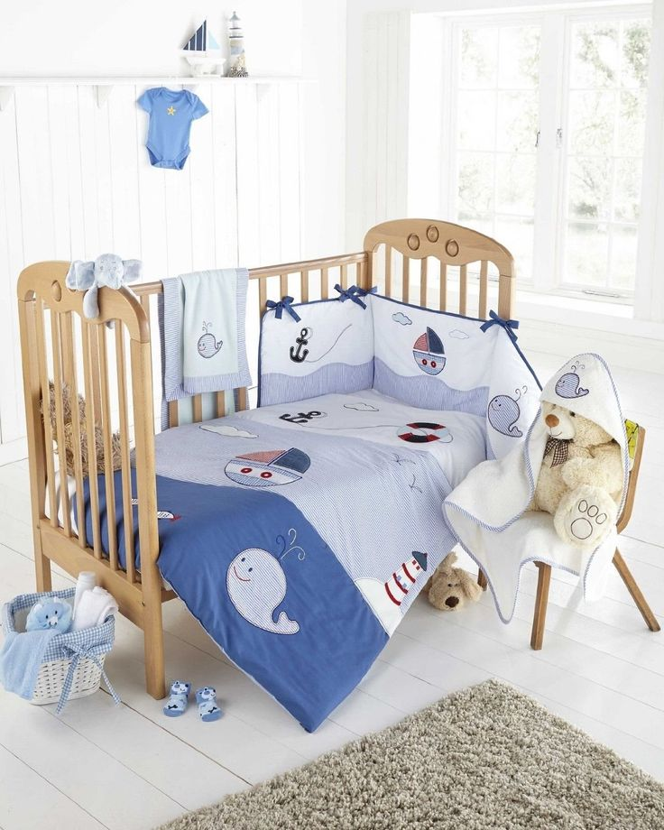 Ship Mate Nautical Whale Anchor Ship White and Blue Embroidered Cot Bed Bumper: Amazon.co.uk: Kitchen & Home