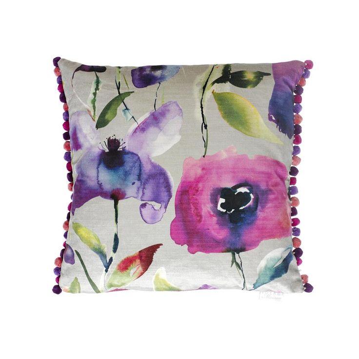 Voyage Maison Nerissa Lotus Cushion Available at www.thegreatbritishhome.com #madeinbritain #homedecor #cushion #thegreatbritishhome #brightcushion #watercolour #voyagemaison