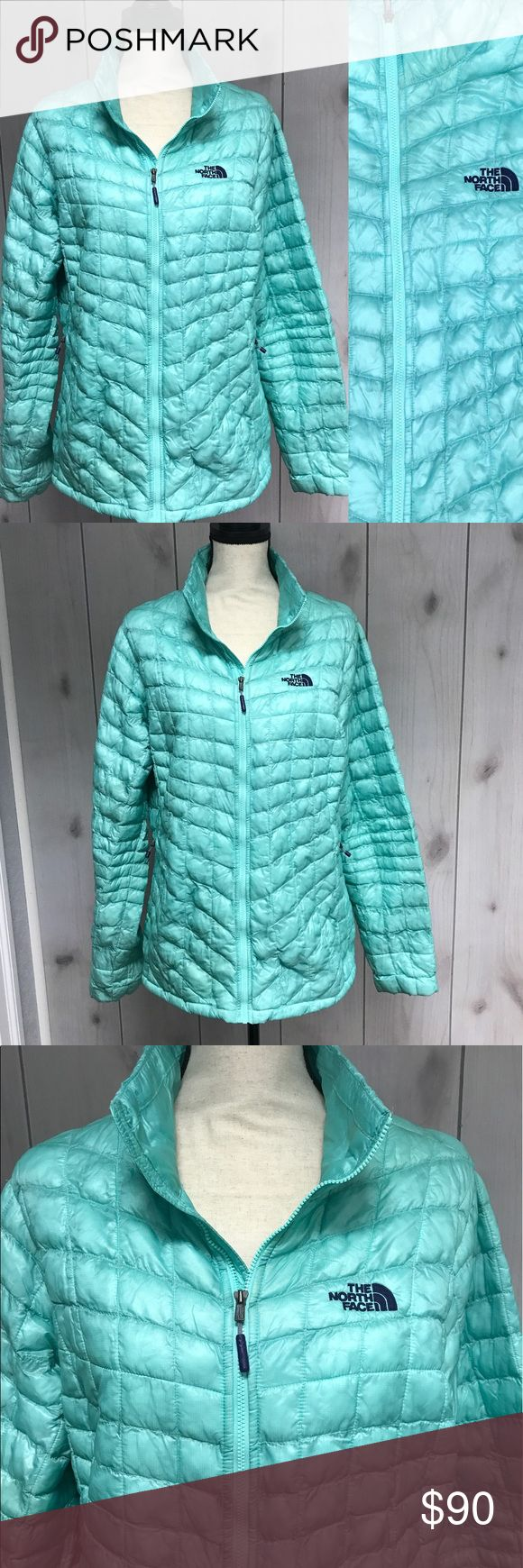 """Women's North Face Thermoball Green Jacket XL Thermoball Jacket. Light sea foam green color. Only flaw is small spot on left shoulder in back and a sleeve that has some discoloration. See photos. Measures 21"""" pit to pit, 27"""" length, 26"""" sleeve. The North Face Jackets & Coats"""