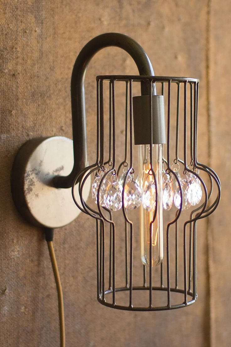 Industrial Modern Plug In Wall Sconce With Gems