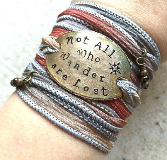 Silk wrap bracelet Not all who wander Boho Silk by SailorStudio #boho #jewelry #wrapbracelet #bohostyle #bohemian #style #notallwhowanderarelost #bohowrap