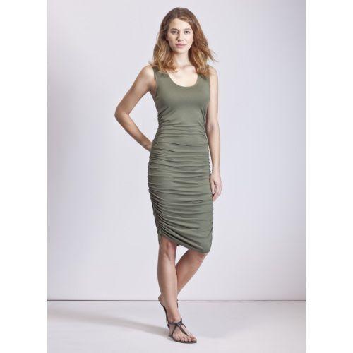 Baukjen Thea Ruched Tank Dress in Green | Dresses
