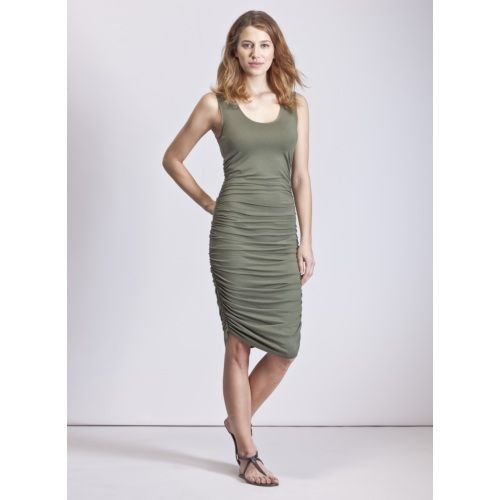 Baukjen Thea Ruched Tank Dress in Green | Dresses