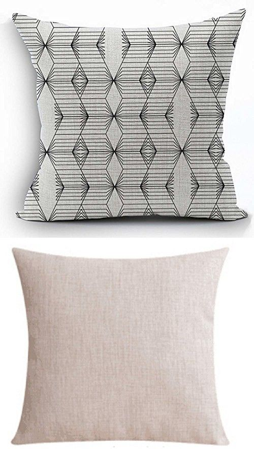 Scandinavian Modern Geometric Design White & Black Cotton Linen Personalized Throw Pillow Case Cushion Cover New Home Office Decorative Square 18 X 18 Inches (2)