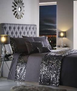 Dazzle Luxury Sequin Sparkle Grey Purple Duvet Cover Bedding Set Double King Sup #LuxuryBeddingBedspreads