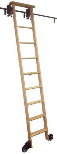 Cotterman Wood Rolling Library Ladder   Track Height: 6u0027 To ...