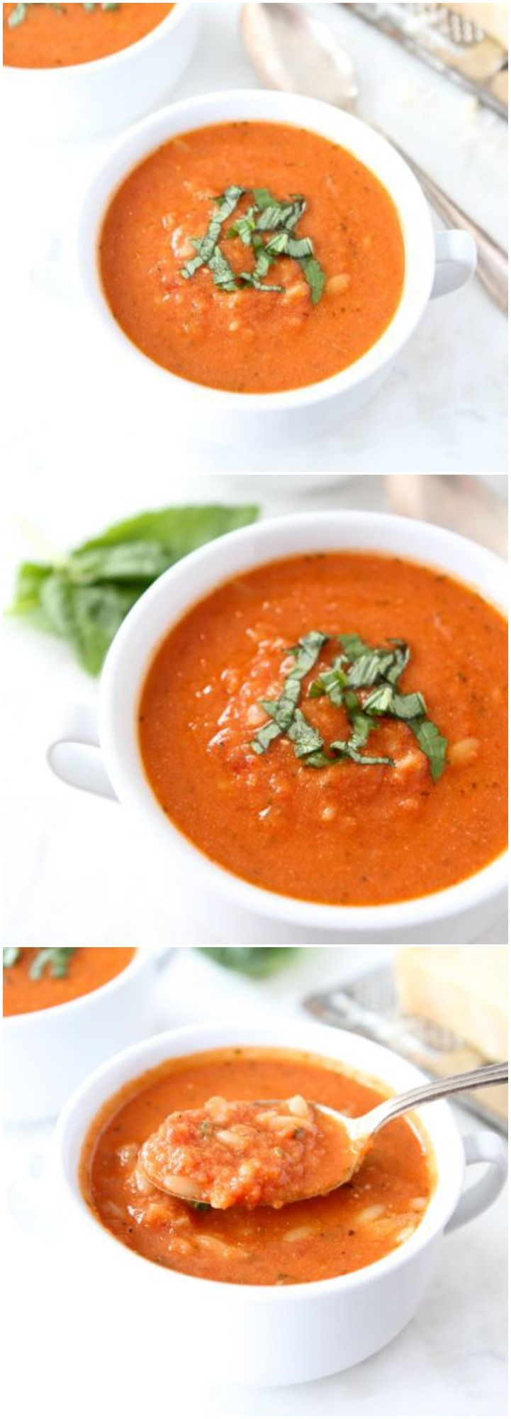 Creamy Tomato Orzo Soup Recipe on twopeasandtheirpod.com Love this creamy tomato soup that is made with Greek yogurt! #soup