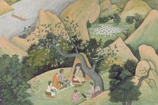 Rama, Sita, and Lakshman at the Rishi Bharadwaj Ashram