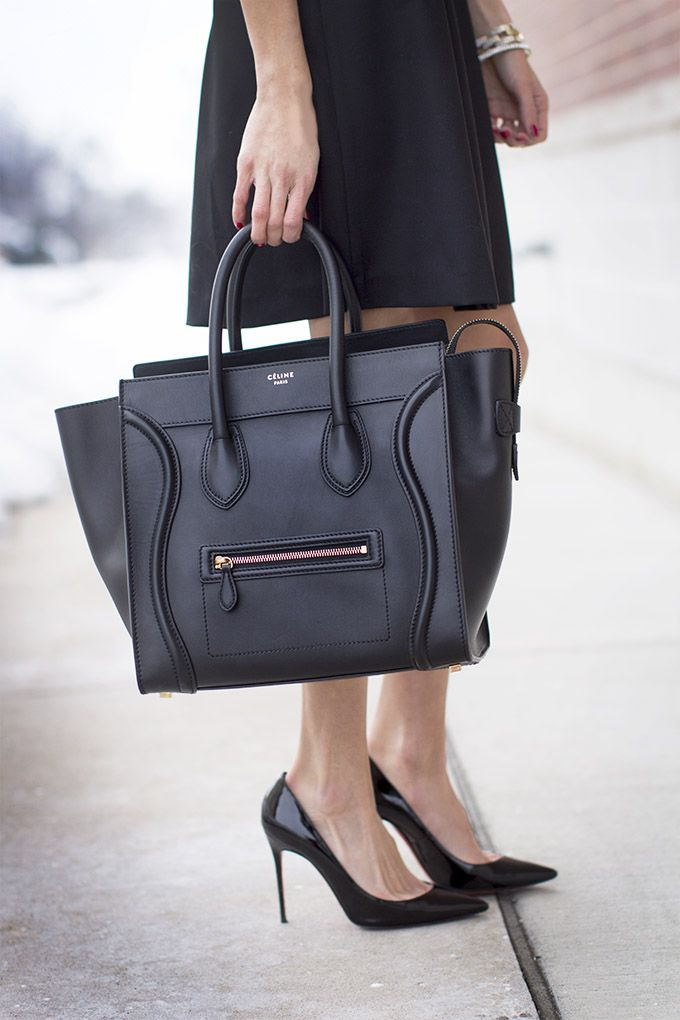 For work. A classy big black bag and classic black stilettos with ...