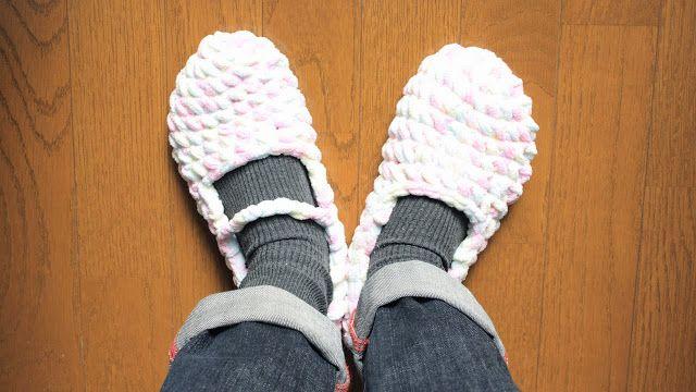 ぬくぬく・かぎ編み手芸部のブログ Warmy Crochet: ふわふわもこもこのルームシューズ試作♪