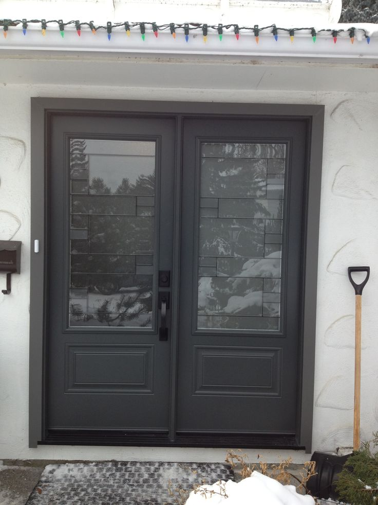 Mondrian Glass Insert By Masonite Graphite Coloured Double Entry Doors Portatec Doors