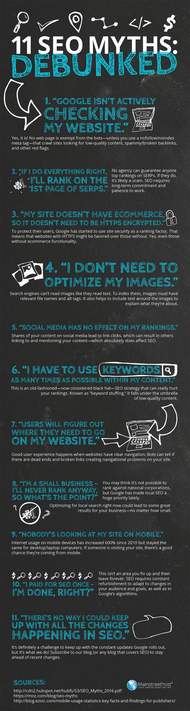 11 SEO Myths That Could Be Damaging Your Business #Infographic  #RePin by AT Social Media Marketing - Pinterest Marketing Specialists ATSocialMedia.co.uk