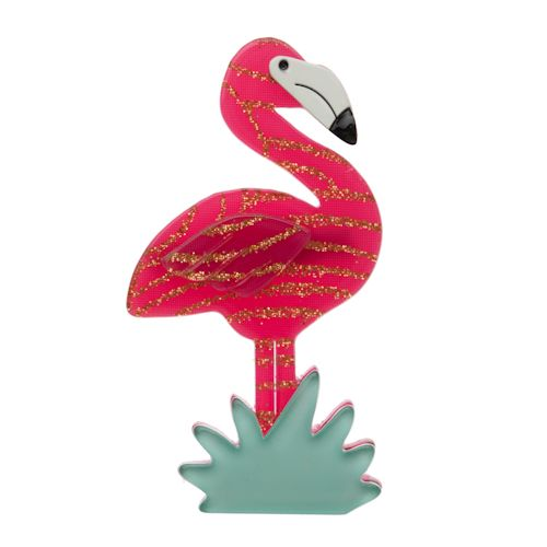 """Limited Edition Flamboyant Flamingo Funk Brooch in pink and gold. """"Bring on the cabana boys!"""""""