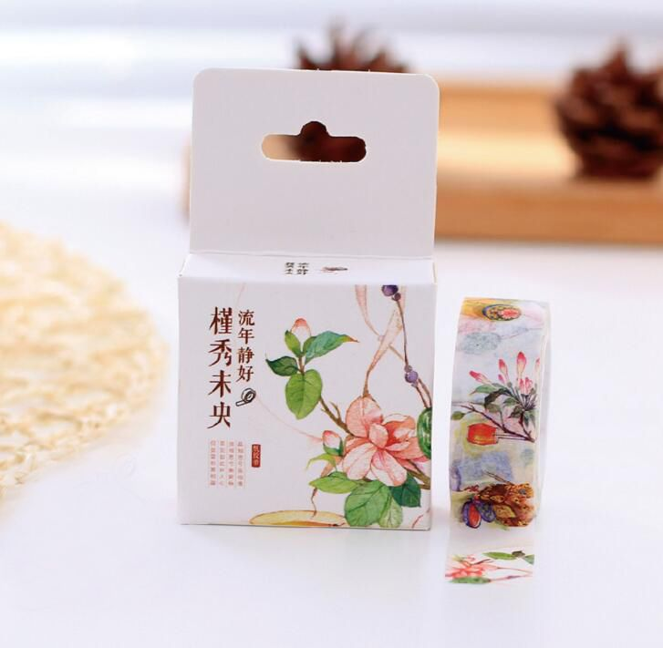 1Box Retro Style Flower Decorative Washi Tape DIY Scrapbooking Masking Tape School Office Supply H1019