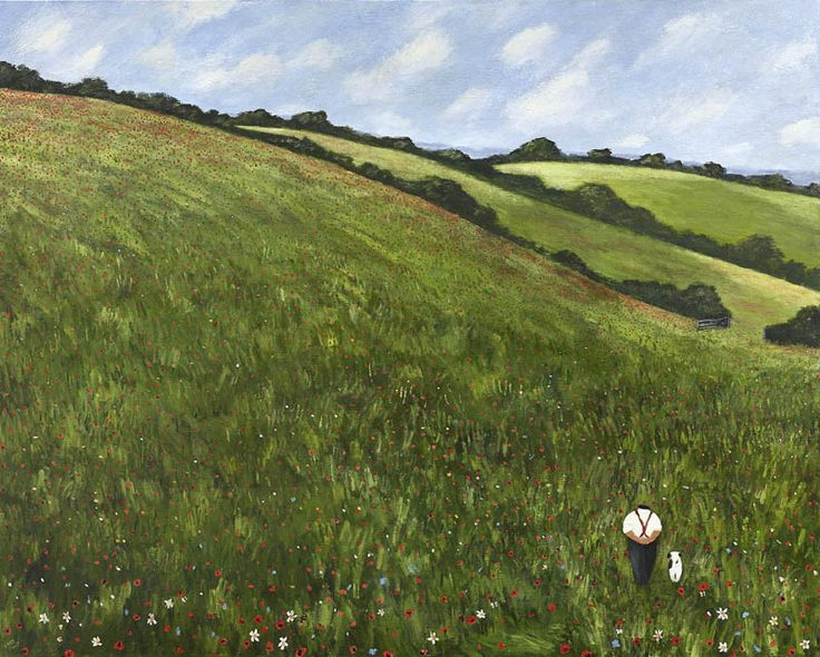 Gary Bunt | The Poppy Field - Butterflies, bees, green summer trees Beneath a warm blue sky And through a field of poppies A man and his dog were passing by.