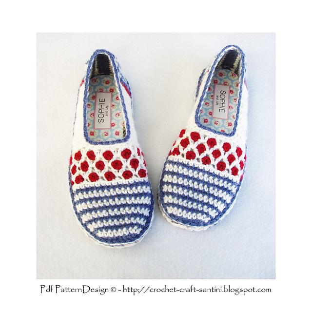 Ravelry: Stripe and Dot Slippers. One piece-toe up. This pair have tailored insoles, and crochet-soles attached. Pattern by Ingunn Santini