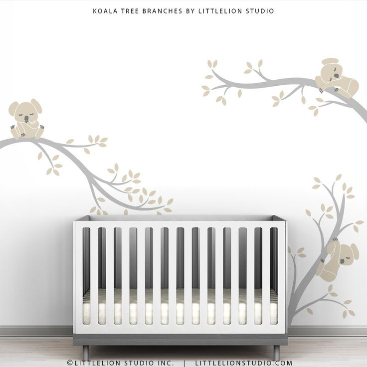 Baby Nursery Wall Decal Pastel Colors Baby Decor Beige Gray Wall Sticker - Koala Tree Branches by LittleLion Studio. $79.00, via Etsy.