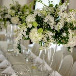 Dekoracja sali z białych i zielonych kwiatów