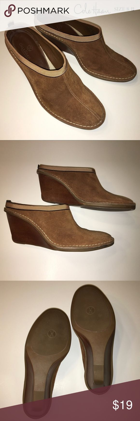 Cole Haan 8 B Brown Suede Wedge Clogs Shoes Excellent condition, Cole Haan Wedge Clogs Mules Slides Shoes. Actual shoes shown in photos. Cole Haan Shoes Wedges