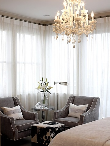 One chair, table and lamp