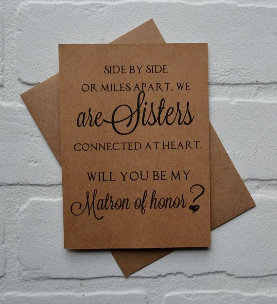 Will You Be My Matron Of Honor Side By By