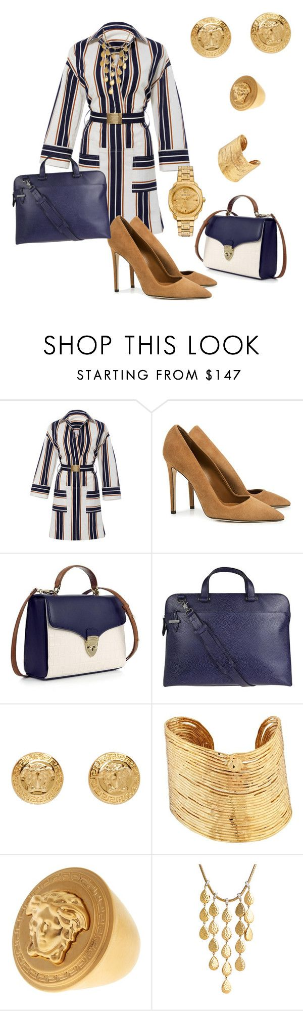 """""""A Woman of Many Jobs"""" by kerashawn ❤ liked on Polyvore featuring Tory Burch, Dee Keller, Aspinal of London, Lodis, Versace, Gas Bijoux and John Hardy"""