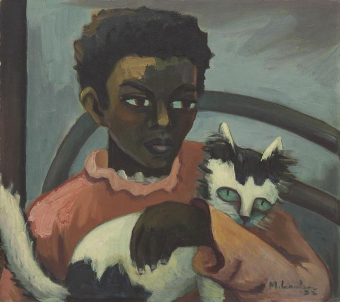 Maggie Laubser -  'Girl with cat', 1932
