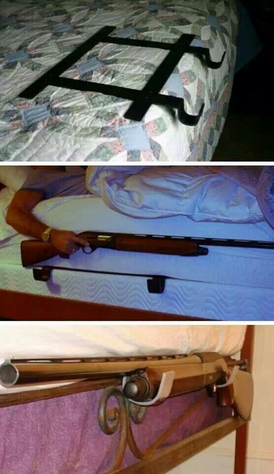 Gun rack for your bed! I likes this better than having the gun under my husband's pillow Find our speedloader now! http://www.amazon.com/shops/raeind